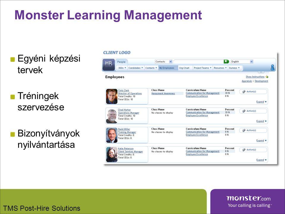 Monster Learning Management Egyéni képzési tervek Tréningek szervezése Bizonyítványok nyilvántartása TMS Post-Hire Solutions