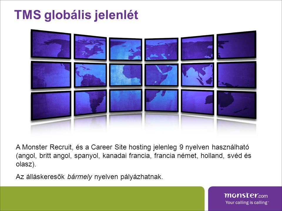 TMS globális jelenlét A Monster Recruit, és a Career Site hosting jelenleg 9 nyelven használható (angol, britt angol, spanyol, kanadai francia, francia német, holland, svéd és olasz).