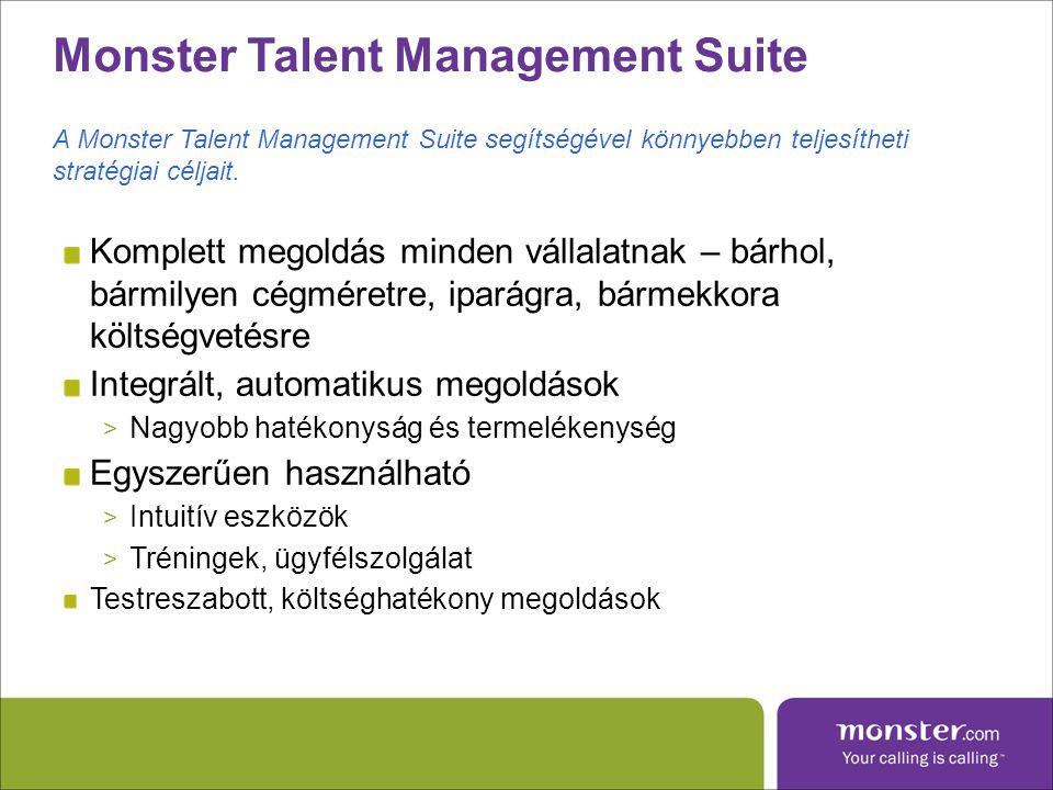 Monster Talent Management Suite Komplett megoldás minden vállalatnak – bárhol, bármilyen cégméretre, iparágra, bármekkora költségvetésre Integrált, automatikus megoldások > Nagyobb hatékonyság és termelékenység Egyszerűen használható > Intuitív eszközök > Tréningek, ügyfélszolgálat Testreszabott, költséghatékony megoldások A Monster Talent Management Suite segítségével könnyebben teljesítheti stratégiai céljait.