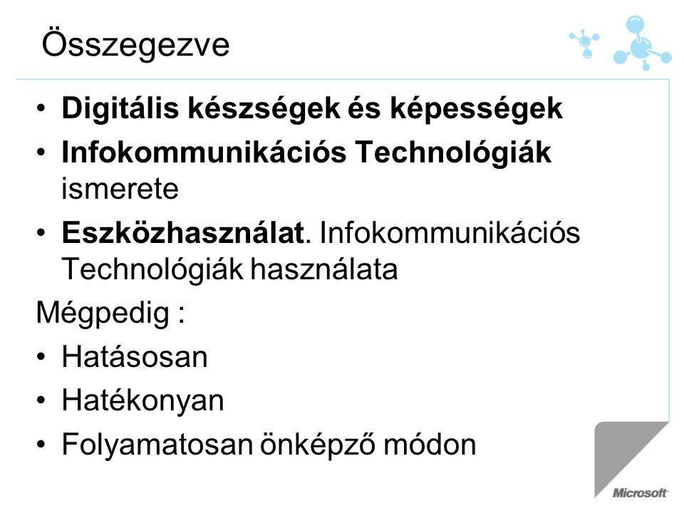 Összegezve Digitális készségek és képességek Infokommunikációs Technológiák ismerete Eszközhasználat. Infokommunikációs Technológiák használata Mégped