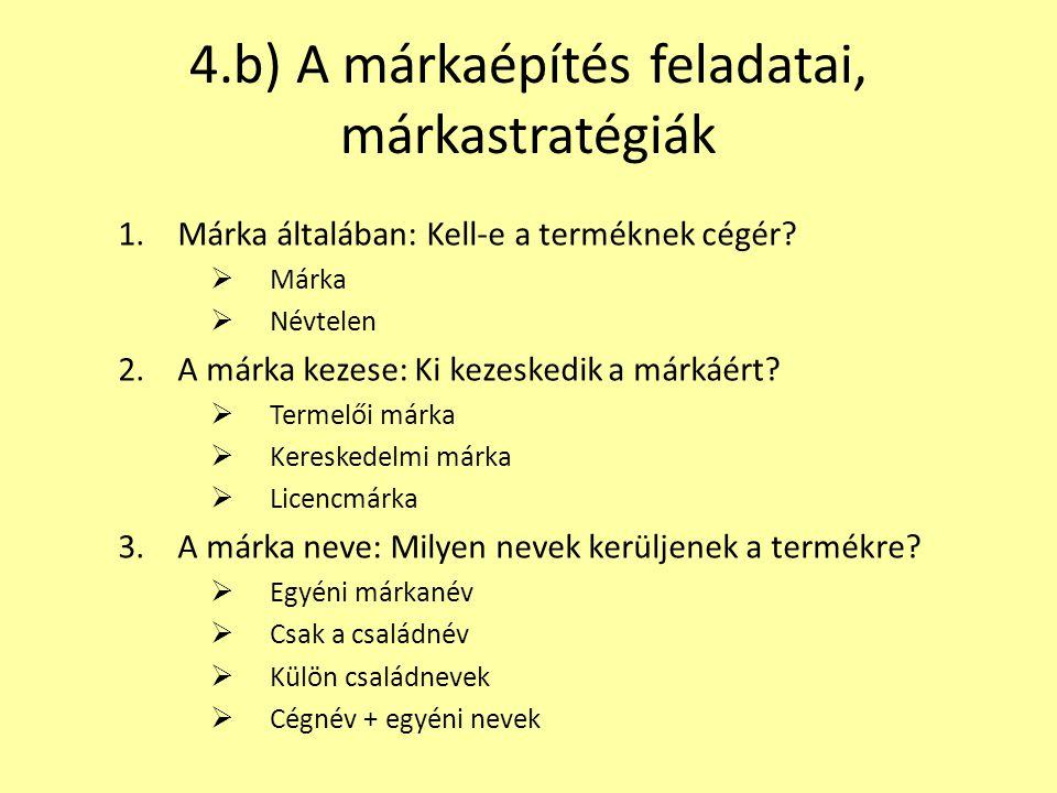 4.b) A márkaépítés feladatai, márkastratégiák 1.Márka általában: Kell-e a terméknek cégér?  Márka  Névtelen 2.A márka kezese: Ki kezeskedik a márkáé