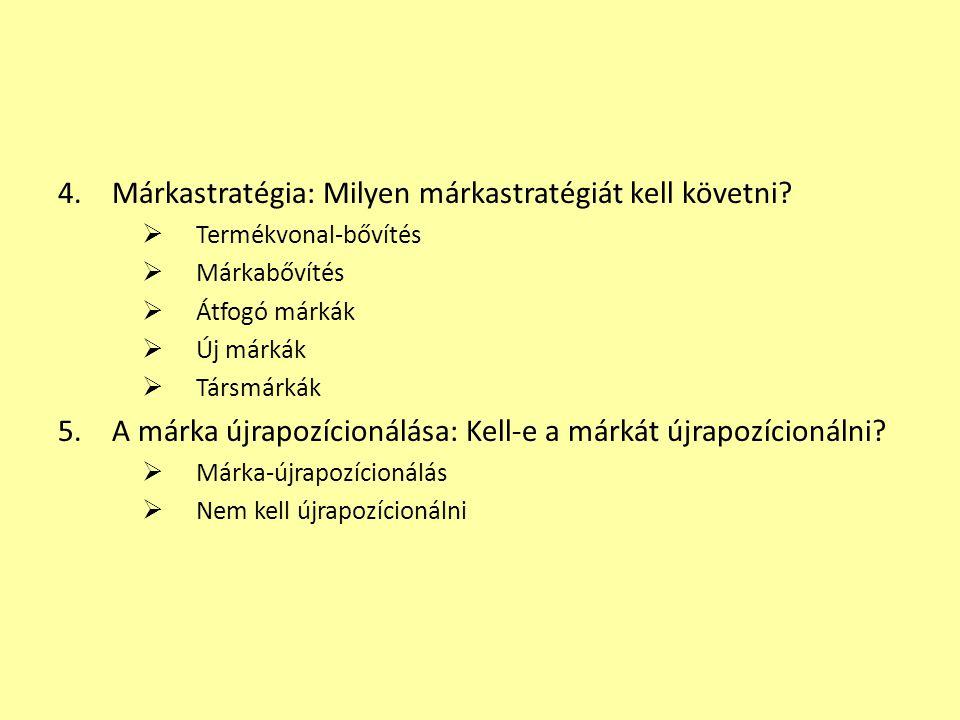 4.Márkastratégia: Milyen márkastratégiát kell követni?  Termékvonal-bővítés  Márkabővítés  Átfogó márkák  Új márkák  Társmárkák 5.A márka újrapoz