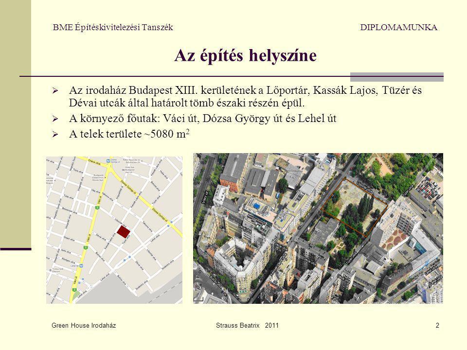 Green House Irodaház Strauss Beatrix 20112 BME Építéskivitelezési Tanszék DIPLOMAMUNKA Az építés helyszíne  Az irodaház Budapest XIII. kerületének a