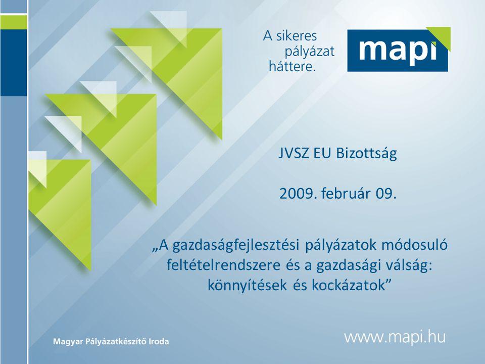 """JVSZ EU Bizottság 2009. február 09. """"A gazdaságfejlesztési pályázatok módosuló feltételrendszere és a gazdasági válság: könnyítések és kockázatok"""""""