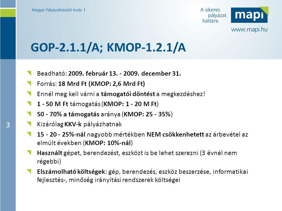 3 GOP-2.1.1/A; KMOP-1.2.1/A Beadható: 2009. február 13. - 2009. december 31. Forrás: 18 Mrd Ft (KMOP: 2,6 Mrd Ft) Ennél meg kell várni a támogatói dön