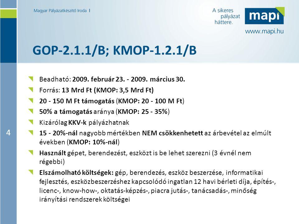 4 GOP-2.1.1/B; KMOP-1.2.1/B Beadható: 2009. február 23. - 2009. március 30. Forrás: 13 Mrd Ft (KMOP: 3,5 Mrd Ft) 20 - 150 M Ft támogatás (KMOP: 20 - 1
