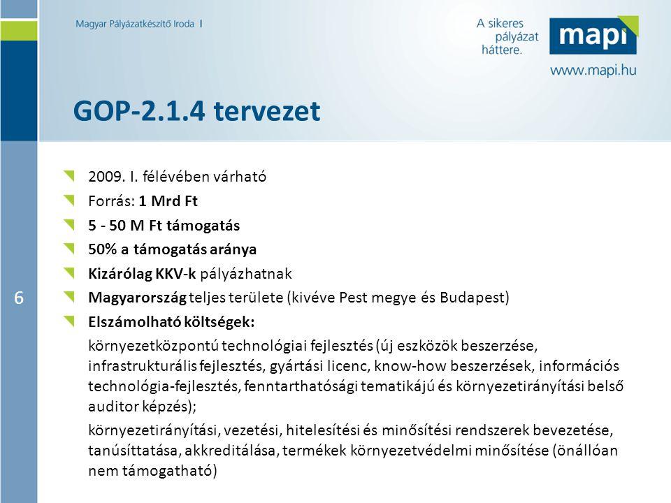 6 GOP-2.1.4 tervezet 2009. I. félévében várható Forrás: 1 Mrd Ft 5 - 50 M Ft támogatás 50% a támogatás aránya Kizárólag KKV-k pályázhatnak Magyarorszá