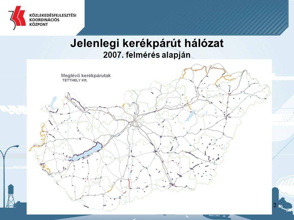 13 Jelenlegi kerékpárút hálózat 2007. felmérés alapján