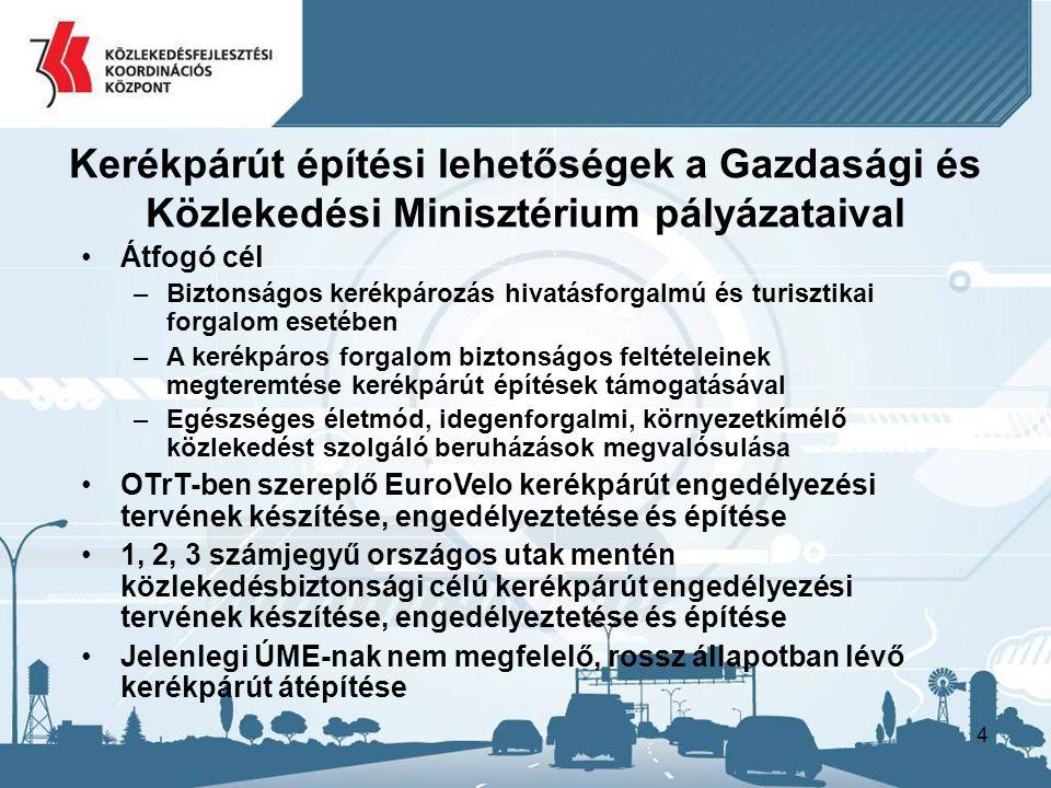 4 Kerékpárút építési lehetőségek a Gazdasági és Közlekedési Minisztérium pályázataival Átfogó cél –Biztonságos kerékpározás hivatásforgalmú és turisztikai forgalom esetében –A kerékpáros forgalom biztonságos feltételeinek megteremtése kerékpárút építések támogatásával –Egészséges életmód, idegenforgalmi, környezetkímélő közlekedést szolgáló beruházások megvalósulása OTrT-ben szereplő EuroVelo kerékpárút engedélyezési tervének készítése, engedélyeztetése és építése 1, 2, 3 számjegyű országos utak mentén közlekedésbiztonsági célú kerékpárút engedélyezési tervének készítése, engedélyeztetése és építése Jelenlegi ÚME-nak nem megfelelő, rossz állapotban lévő kerékpárút átépítése