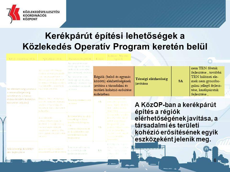 17 Pályázók köre: –Nemzeti Infrastruktúra Fejlesztő Zrt.