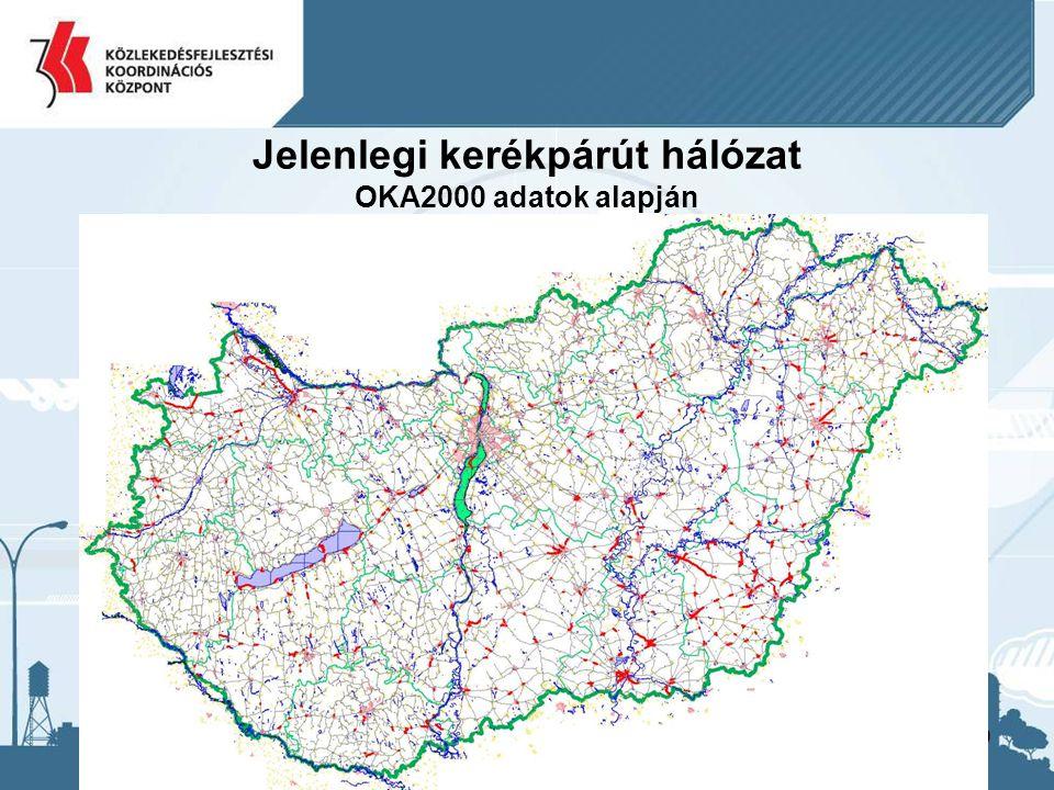 10 Jelenlegi kerékpárút hálózat OKA2000 adatok alapján Baranya m.29,9 Bács-Kiskun m.96,9 Békés m.176,5 Borsod-Abaúj-Zemplén m.32,0 Csongrád m.104,0 Fejér m.22,0 Győr-Moson-Sopron m.107,0 Hajdú-Bihar m.69,7 Heves m.22,6 Komárom-Esztergom m.12,8 Pest m.24,8 Somogy m.58,1 Szabolcs-Szatmár-Bereg m.35,1 Jász-Nagykun-Szolnok m.41,5 Tolna m.14,0 Vas m.27,2 Veszprém m.18,3 Zala m.18,6 Összesen:911,0 Dél-alföldi régió377,5 Dél-dunántúli régió102,0 Észak-alföldi régió146,3 Észak-magyarországi régió54,6 Közép-dunántúli régió53,0 Közép-magyarországi régió24,8 Nyugat-dunántúli régió152,8 Összesen:911,0