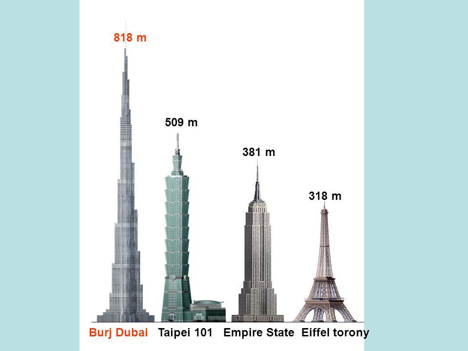 Burj Dubai Taipei 101 Empire State Eiffel torony 818 m 509 m 381 m 318 m