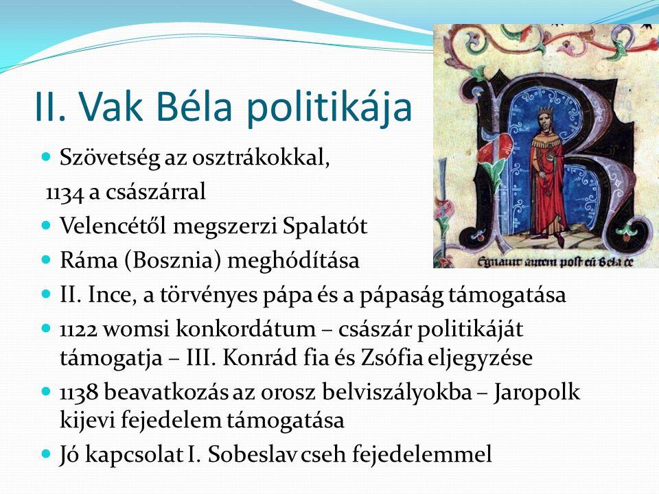Tervek Géza ellen Sorozatos háborúkban Magyarország kimerült, külpolitikai helyzete is romlott Kormányzásban frakciók jöttek létre, legerősebb: István, Géza öccse mögött felsorakozó, Gézával elégedetlen világi előkelők, Belos is őket támogatja 1157 – tervek Géza meggyilkolására Kiderül – Istvánt száműzi – Barbarossza Frigyeshez menekül – felkérik döntőbírónak 1158 regensburgi birodalmi gyűlés – Barbarossza elhalasztja az ítéletet – István Bizáncba megy, ahol feleséget is kap, Mánuel unokahúgát