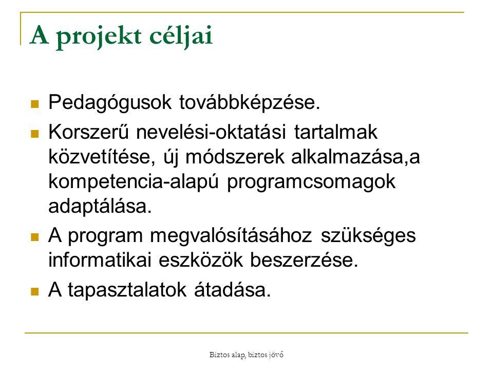 Biztos alap, biztos jövő A projekt céljai Pedagógusok továbbképzése.
