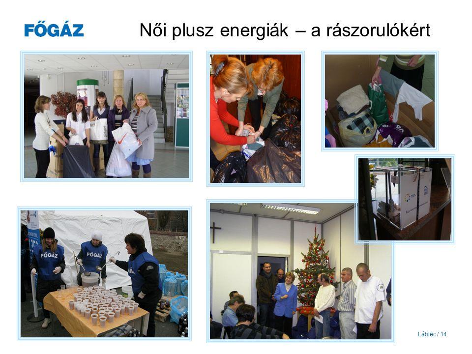 Lábléc / 14 Női plusz energiák – a rászorulókért