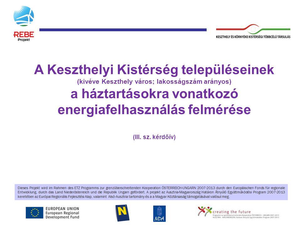 A Keszthelyi Kistérség településeinek (kivéve Keszthely város; lakosságszám arányos) a háztartásokra vonatkozó energiafelhasználás felmérése (III.