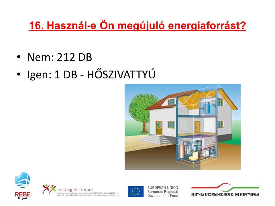 16. Használ-e Ön megújuló energiaforrást Nem: 212 DB Igen: 1 DB - HŐSZIVATTYÚ