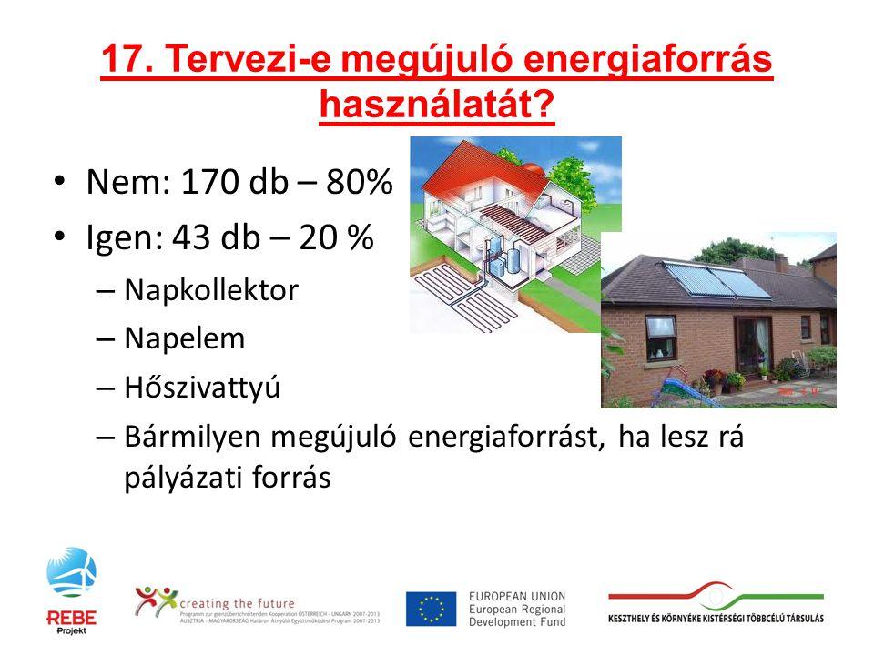 17. Tervezi-e megújuló energiaforrás használatát.