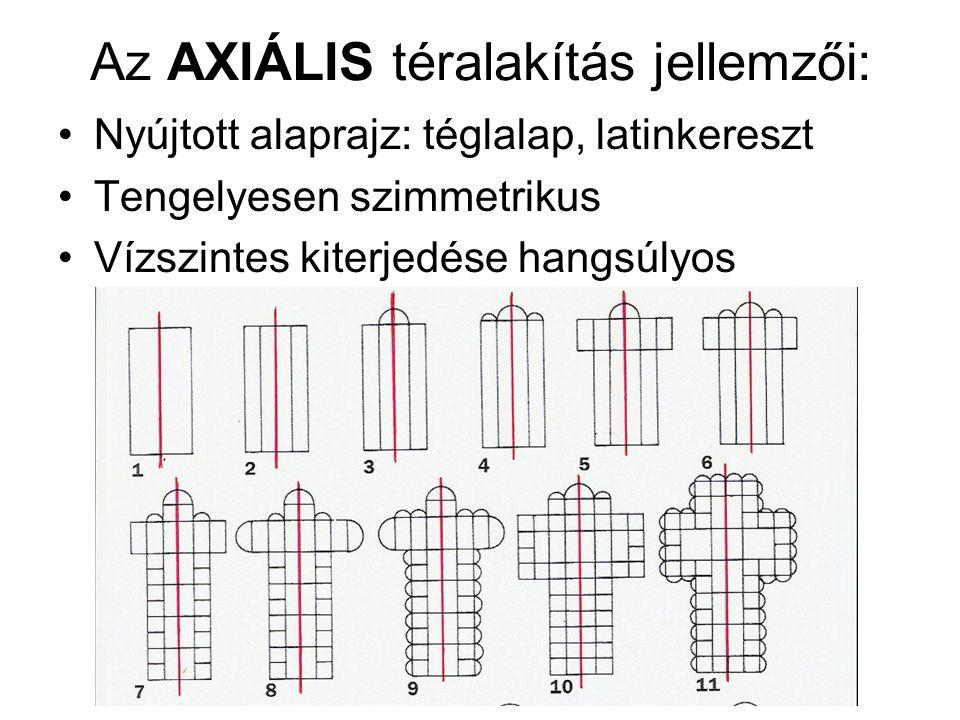 Az AXIÁLIS téralakítás jellemzői: Nyújtott alaprajz: téglalap, latinkereszt Tengelyesen szimmetrikus Vízszintes kiterjedése hangsúlyos