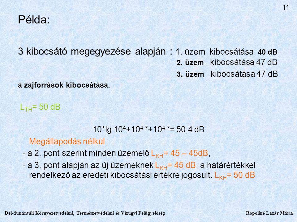 Példa: 3 kibocsátó megegyezése alapján : 1.üzem kibocsátása 40 dB 2.