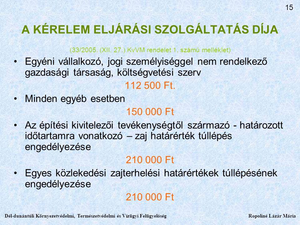 A KÉRELEM ELJÁRÁSI SZOLGÁLTATÁS DÍJA (33/2005.(XII.