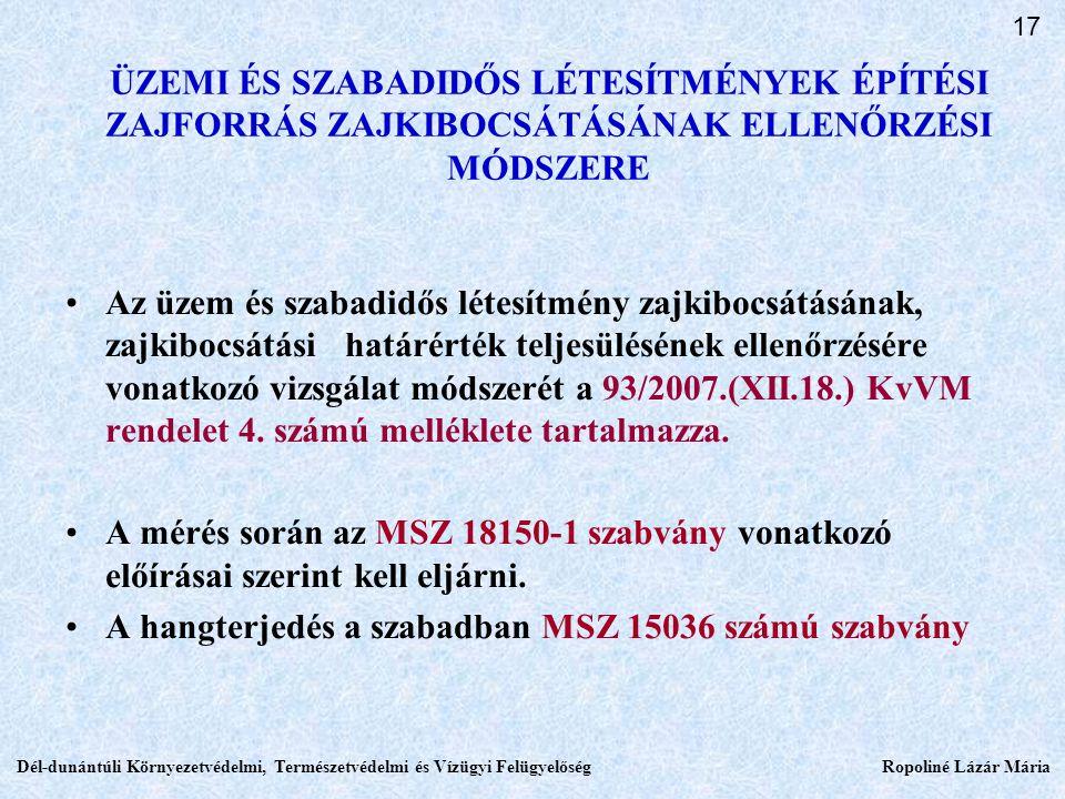 ÜZEMI ÉS SZABADIDŐS LÉTESÍTMÉNYEK ÉPÍTÉSI ZAJFORRÁS ZAJKIBOCSÁTÁSÁNAK ELLENŐRZÉSI MÓDSZERE Az üzem és szabadidős létesítmény zajkibocsátásának, zajkibocsátási határérték teljesülésének ellenőrzésére vonatkozó vizsgálat módszerét a 93/2007.(XII.18.) KvVM rendelet 4.