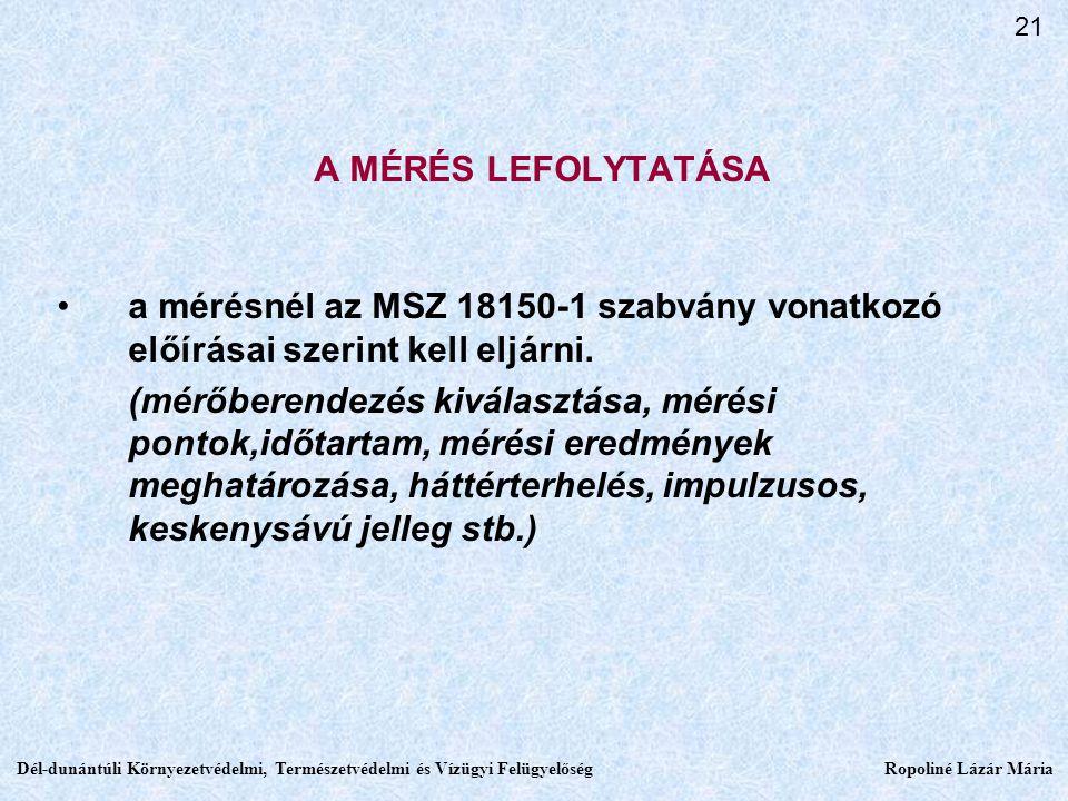 A MÉRÉS LEFOLYTATÁSA a mérésnél az MSZ 18150-1 szabvány vonatkozó előírásai szerint kell eljárni.