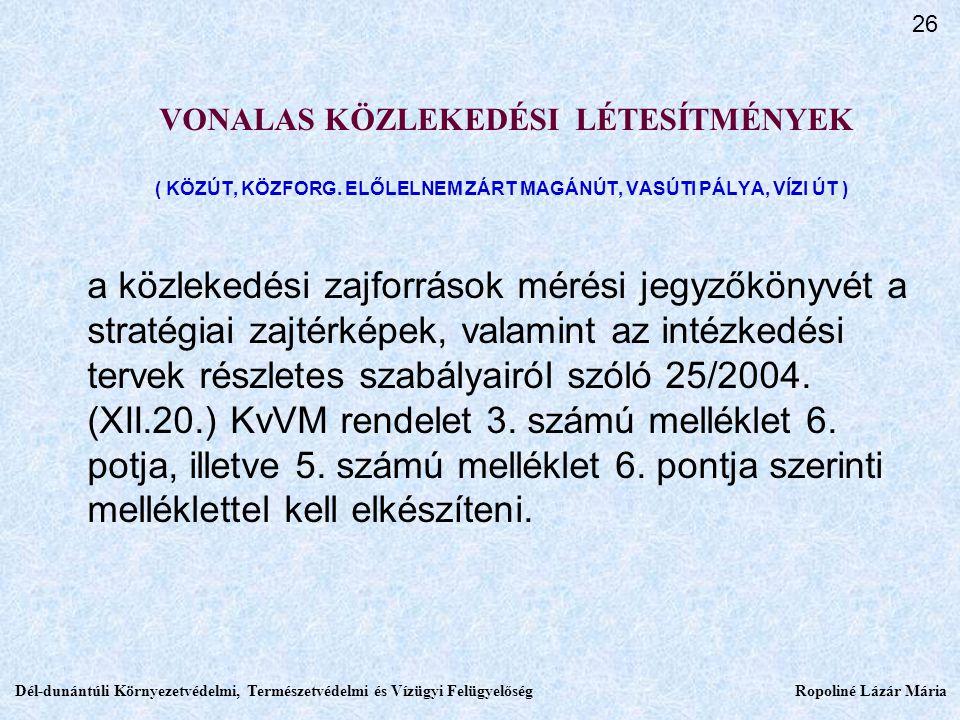 VONALAS KÖZLEKEDÉSI LÉTESÍTMÉNYEK ( KÖZÚT, KÖZFORG.