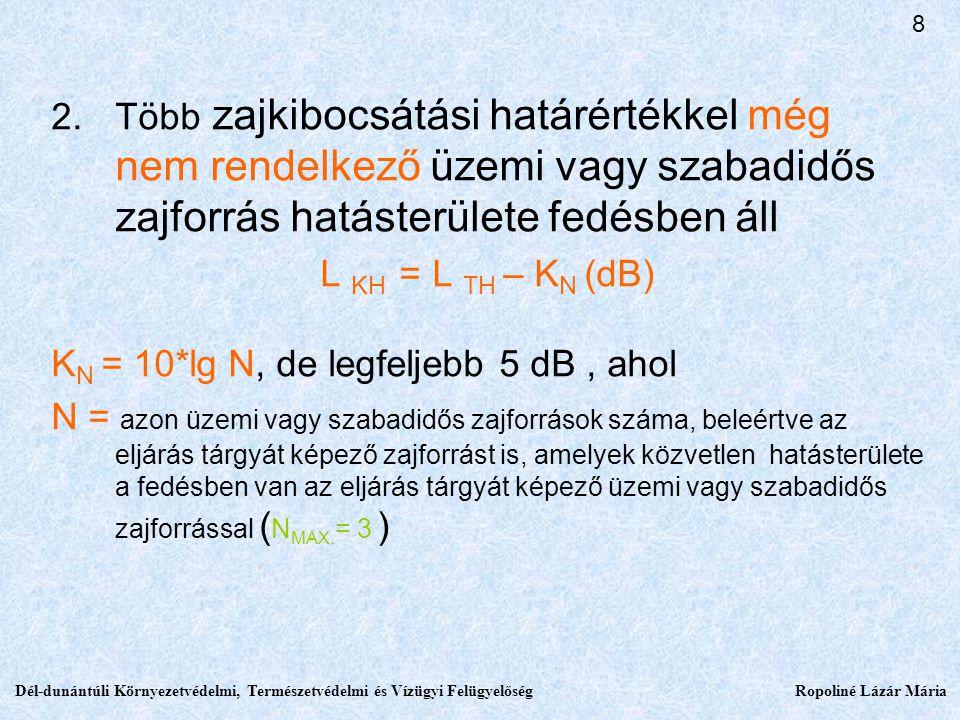 2.Több zajkibocsátási határértékkel még nem rendelkező üzemi vagy szabadidős zajforrás hatásterülete fedésben áll L KH = L TH – K N (dB) K N = 10*lg N, de legfeljebb 5 dB, ahol N = azon üzemi vagy szabadidős zajforrások száma, beleértve az eljárás tárgyát képező zajforrást is, amelyek közvetlen hatásterülete a fedésben van az eljárás tárgyát képező üzemi vagy szabadidős zajforrással ( N MAX.