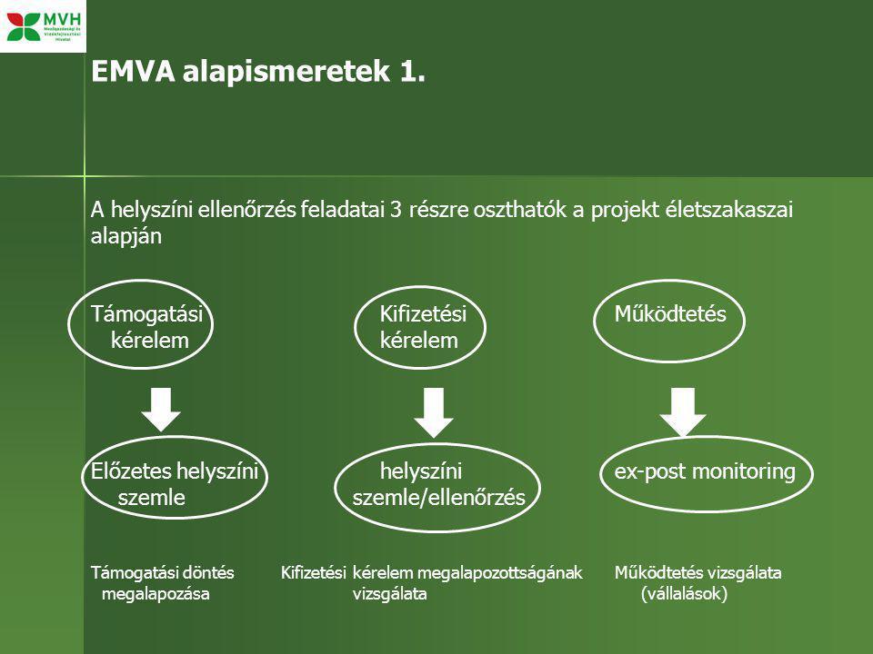 EMVA alapismeretek 1. A helyszíni ellenőrzés feladatai 3 részre oszthatók a projekt életszakaszai alapján Támogatási KifizetésiMűködtetés kérelem kére
