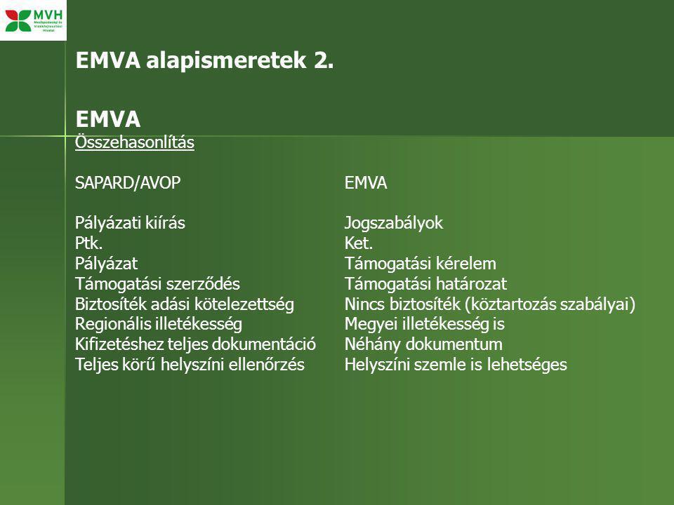 EMVA alapismeretek 2. EMVA Összehasonlítás SAPARD/AVOPEMVA Pályázati kiírásJogszabályok Ptk.Ket.