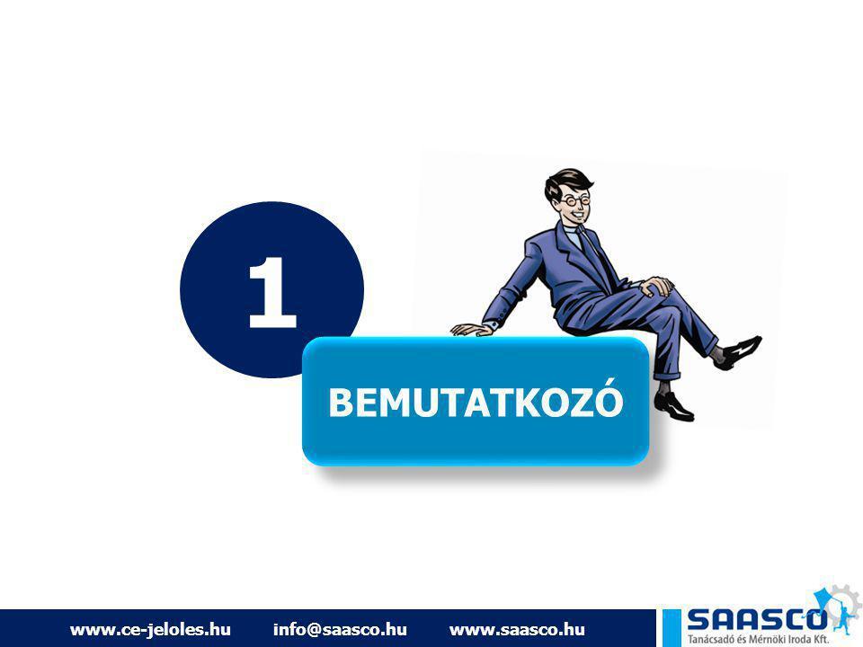 www.ce-jeloles.hu info@saasco.hu www.saasco.hu AZ ELŐADÓ… BERENCSI BENCE ügyvezető ig., tanácsadó 20/589-5099 info@saasco.hu SAASCO Kft.