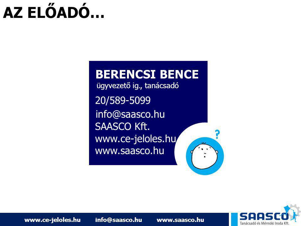 www.ce-jeloles.hu info@saasco.hu www.saasco.hu AZ ELŐADÓ… BERENCSI BENCE ügyvezető ig., tanácsadó 20/589-5099 info@saasco.hu SAASCO Kft. www.ce-jelole