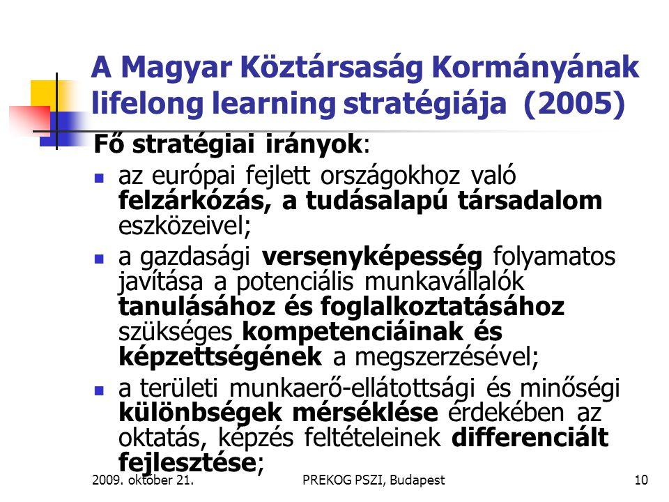 2009. október 21.PREKOG PSZI, Budapest10 A Magyar Köztársaság Kormányának lifelong learning stratégiája (2005) Fő stratégiai irányok: az európai fejle