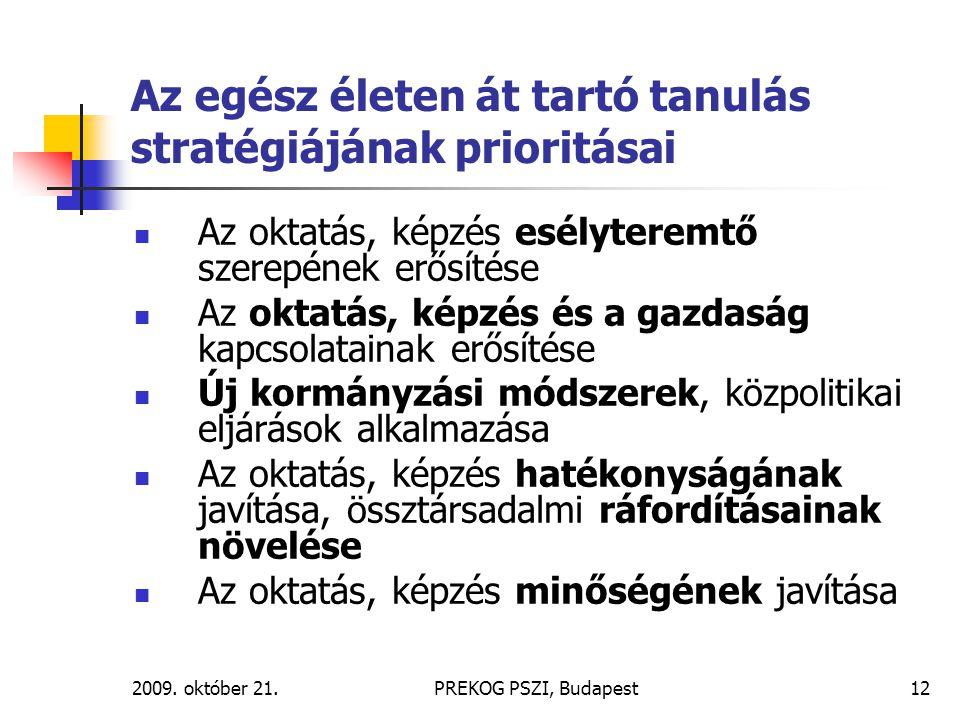 2009. október 21.PREKOG PSZI, Budapest12 Az egész életen át tartó tanulás stratégiájának prioritásai Az oktatás, képzés esélyteremtő szerepének erősít
