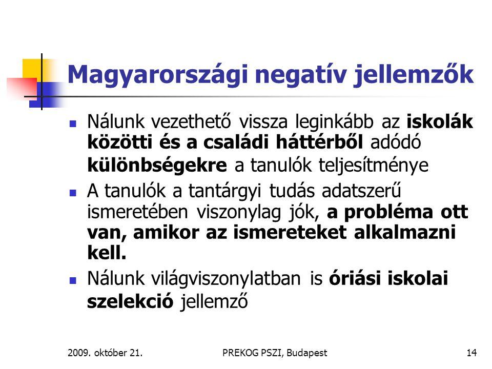 2009. október 21.PREKOG PSZI, Budapest14 Magyarországi negatív jellemzők Nálunk vezethető vissza leginkább az iskolák közötti és a családi háttérből a