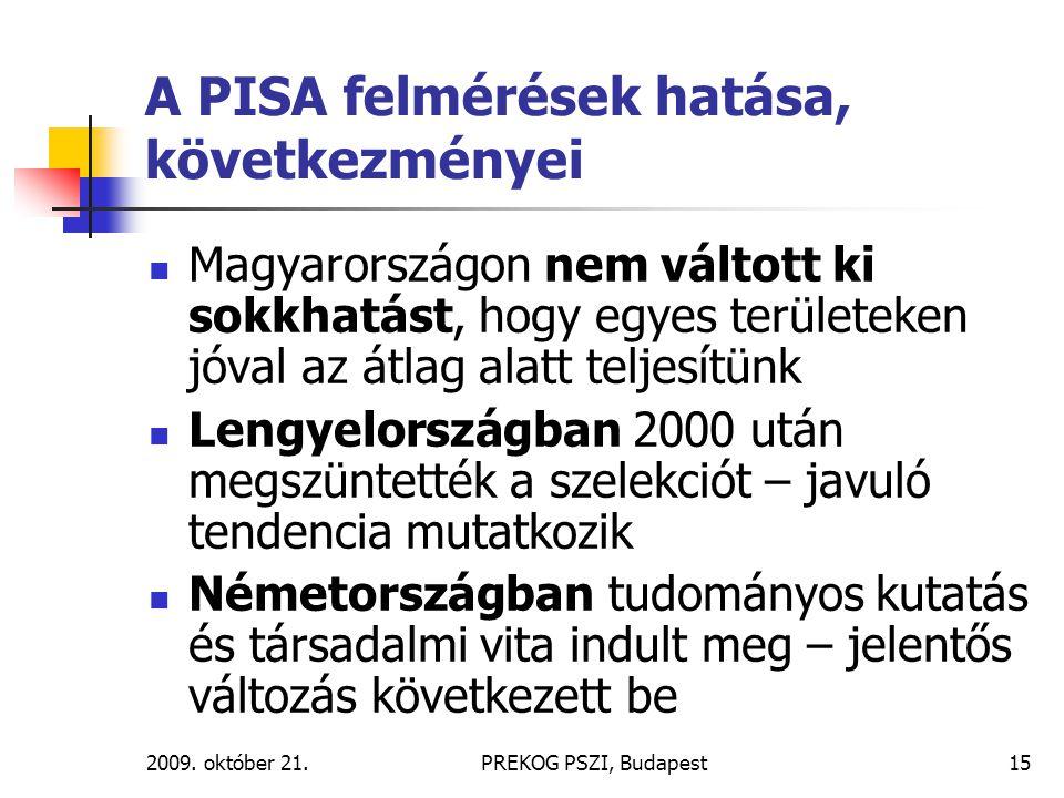 2009. október 21.PREKOG PSZI, Budapest15 A PISA felmérések hatása, következményei Magyarországon nem váltott ki sokkhatást, hogy egyes területeken jóv