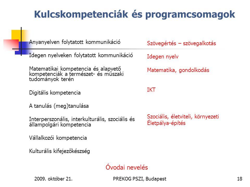 2009. október 21.PREKOG PSZI, Budapest18 Kulcskompetenciák és programcsomagok Anyanyelven folytatott kommunikáció Idegen nyelveken folytatott kommunik