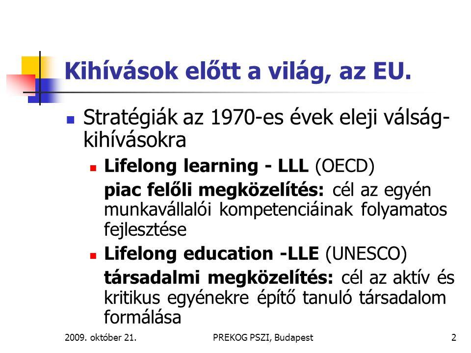 2009. október 21.PREKOG PSZI, Budapest2 Kihívások előtt a világ, az EU. Stratégiák az 1970-es évek eleji válság- kihívásokra Lifelong learning - LLL (