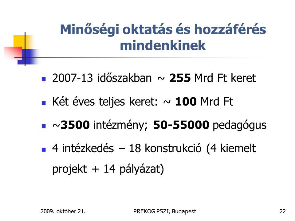 2009. október 21.PREKOG PSZI, Budapest22 Minőségi oktatás és hozzáférés mindenkinek 2007-13 időszakban ~ 255 Mrd Ft keret Két éves teljes keret: ~ 100
