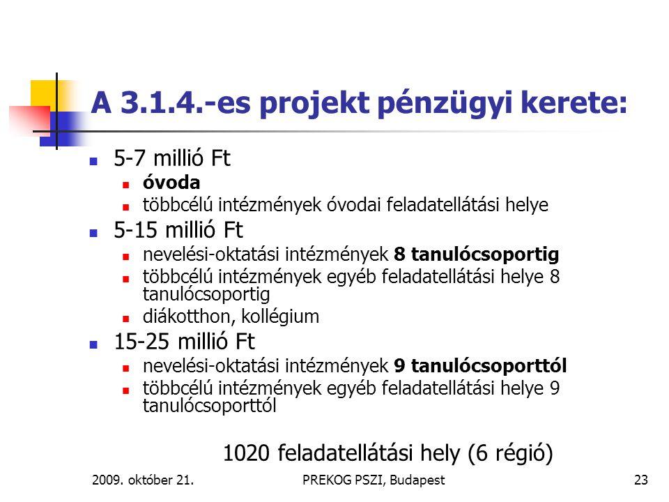 2009. október 21.PREKOG PSZI, Budapest23 A 3.1.4.-es projekt pénzügyi kerete: 5-7 millió Ft óvoda többcélú intézmények óvodai feladatellátási helye 5-