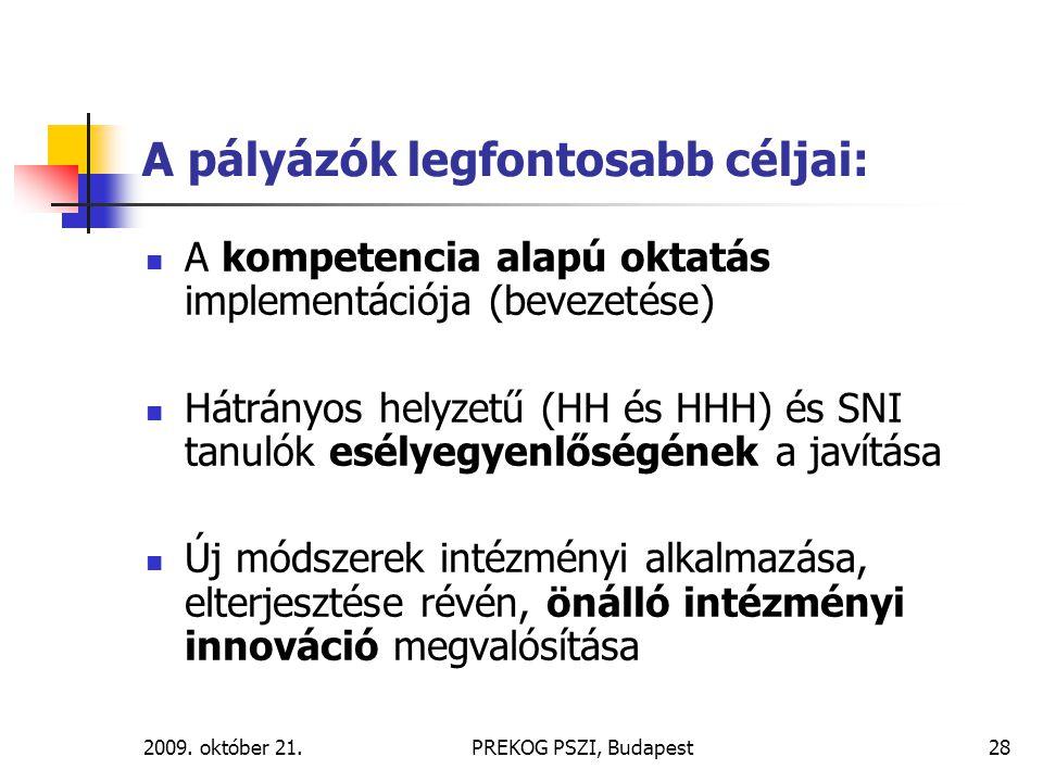 2009. október 21.PREKOG PSZI, Budapest28 A pályázók legfontosabb céljai: A kompetencia alapú oktatás implementációja (bevezetése) Hátrányos helyzetű (
