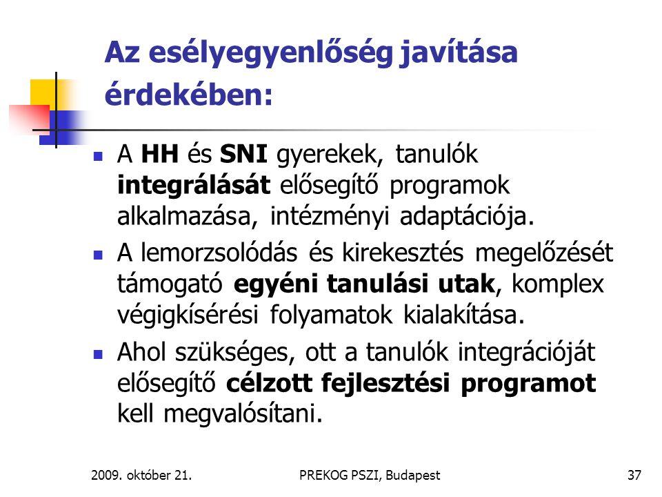 2009. október 21.PREKOG PSZI, Budapest37 Az esélyegyenlőség javítása érdekében: A HH és SNI gyerekek, tanulók integrálását elősegítő programok alkalma
