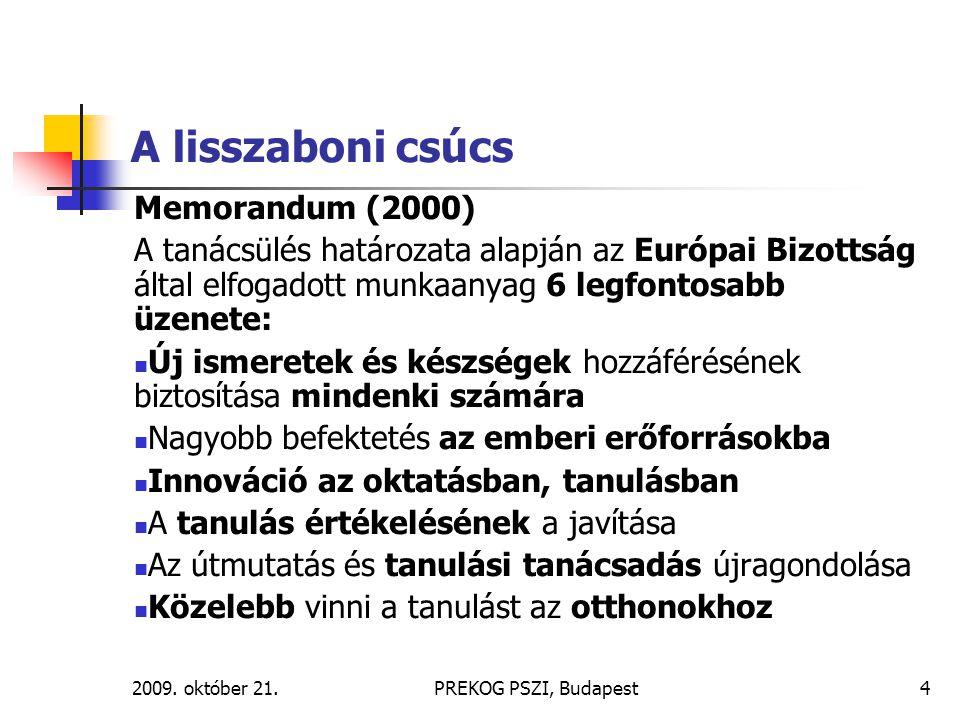 2009. október 21.PREKOG PSZI, Budapest4 A lisszaboni csúcs Memorandum (2000) A tanácsülés határozata alapján az Európai Bizottság által elfogadott mun