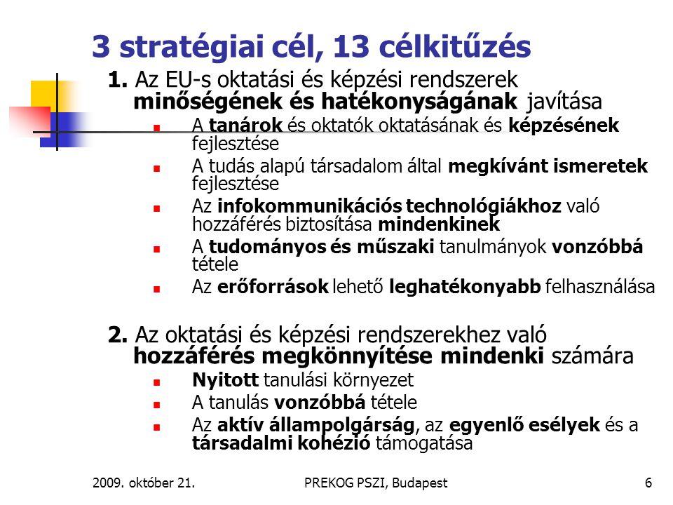 2009. október 21.PREKOG PSZI, Budapest6 3 stratégiai cél, 13 célkitűzés 1. Az EU-s oktatási és képzési rendszerek minőségének és hatékonyságának javít