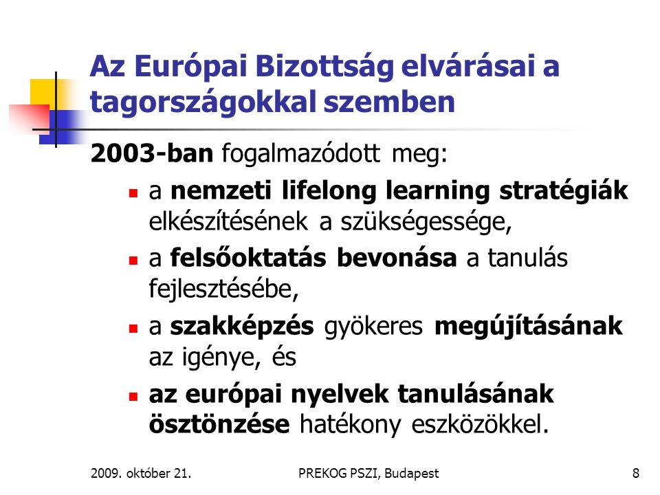 2009. október 21.PREKOG PSZI, Budapest8 Az Európai Bizottság elvárásai a tagországokkal szemben 2003-ban fogalmazódott meg: a nemzeti lifelong learnin