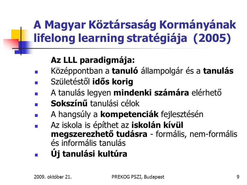 2009. október 21.PREKOG PSZI, Budapest9 A Magyar Köztársaság Kormányának lifelong learning stratégiája (2005) Az LLL paradigmája: Középpontban a tanul