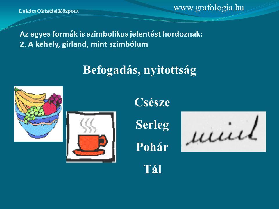 Az egyes formák is szimbolikus jelentést hordoznak: 2. A kehely, girland, mint szimbólum Csésze Serleg Pohár Tál Befogadás, nyitottság www.grafologia.
