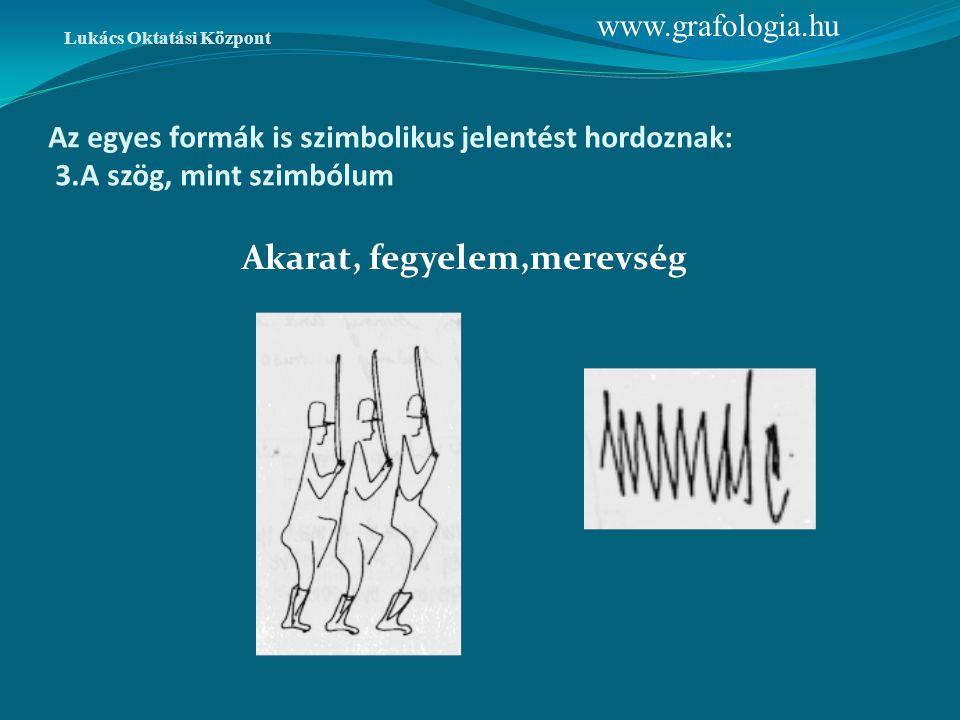 Az egyes formák is szimbolikus jelentést hordoznak: 3.A szög, mint szimbólum Akarat, fegyelem,merevség www.grafologia.hu Lukács Oktatási Központ