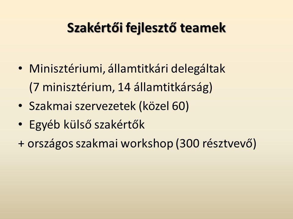 Szakértői fejlesztő teamek Minisztériumi, államtitkári delegáltak (7 minisztérium, 14 államtitkárság) Szakmai szervezetek (közel 60) Egyéb külső szakértők + országos szakmai workshop (300 résztvevő)